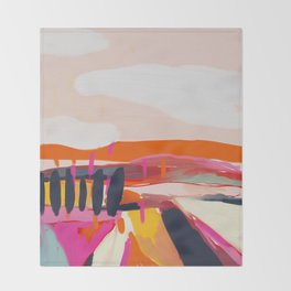 landscape pink peachy abstract Throw Blanket