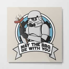 May the BBQ be with you Metal Print