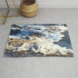 Luxurious Sea Foam Photo Watercolor Organic 'Painting' Rug