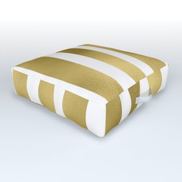 Gold unequal stripes on clear white - vertical pattern Outdoor Floor Cushion