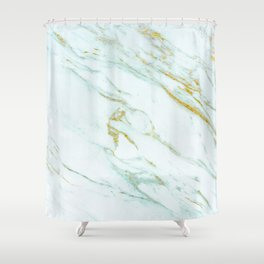 Gold Mint Marbled Shower Curtain