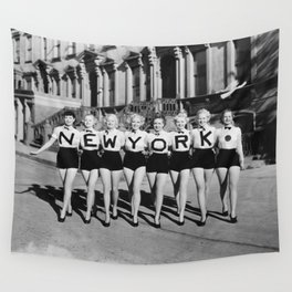 New York Girls in a line, lovely girls on the street - mid century vintage photo Wall Tapestry