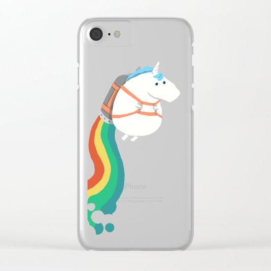 Fat Unicorn on Rainbow Jetpack Clear iPhone Case