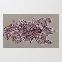 Sparrows and Irises Rug