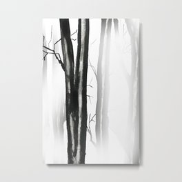 wood, snow and fog Metal Print