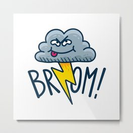 Funny Fart Cartoon Cloud Metal Print