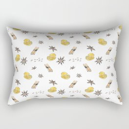 Seamless pattern with lemon slices and spices Rectangular Pillow