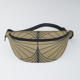 Diamond Series Inter Wave Charcoal on Gold Fanny Pack