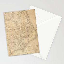 Vintage Map of Eastern North Carolina (1862) Stationery Cards