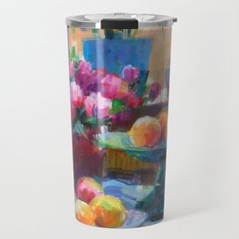 Still Life with Flowers and Fruits Travel Mug