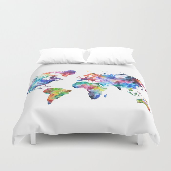 World Map Watercolor Painting Duvet Cover by audreydeford | Society6