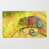 chameleon Area & Throw Rugs featuring Chameleon  by Georgia Roberts