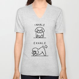 Inhale Exhale Toy Poodle Unisex V-Neck