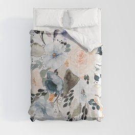 Loose Blue and Peach Floral Watercolor Bouquet  Comforters