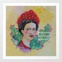 frida y las flores Art Print
