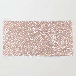 Little wild cheetah spots animal print neutral home trend warm dusty rose coral Beach Towel