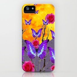 PURPLE COLOR  FULL MOON PURPLE BUTTERFLIES iPhone Case