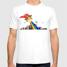 The Adventures of SuperMoose! White SMALL Mens Fitted Tee