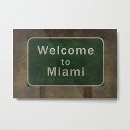 Welcome to Miami roadside sign illustration Metal Print