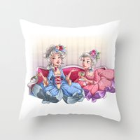 gossip girl Throw Pillows featuring Gossip Girls by Miss Holly