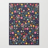 yetiland Canvas Prints featuring Ditsy Flowers by Poppy & Red
