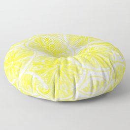 Lemon slices pattern watercolor Floor Pillow