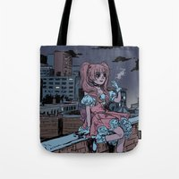 magical girl Tote Bags featuring MONTREAL MAGICAL GIRL by Natalie Nardozza