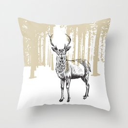 Deer illustration black and white Throw Pillow