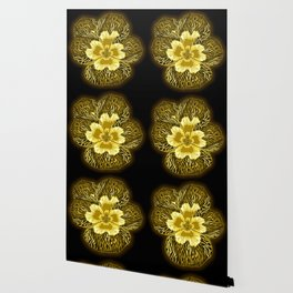 """""""Gold"""" Pansy Flower Special Edition 1 (Black Back) Wallpaper"""