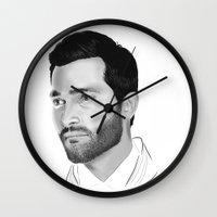 tyler spangler Wall Clocks featuring Tyler Hoechlin by Finduilas
