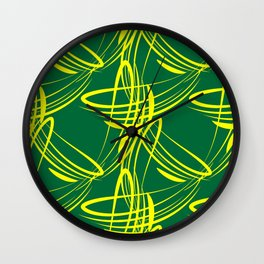 Lemon lines for on a green background. Wall Clock