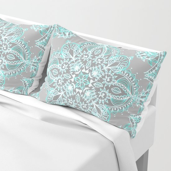 Teal and Aqua Lace Mandala on Grey by micklyn