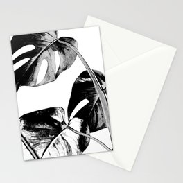 Black monstera leaves watercolor Stationery Cards