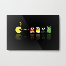 Pacman with Angry Birds Ghosts Metal Print