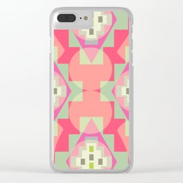 Light shapes in pink Clear iPhone Case