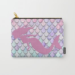 Mermaid Silhouette, Pastel Pink, Purple, Teal Carry-All Pouch