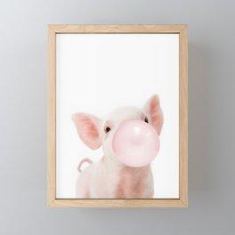 Bubble Gum Baby Pig Framed Mini Art Print