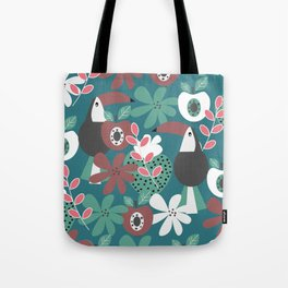Toucans with apples and strawberries Tote Bag