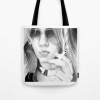 alisa burke Tote Bags featuring Alisa smoking by donotseemeart