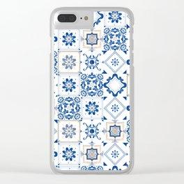Alhambra Tiles Spanish Tiles Kitchen Decor Classic Accent White Blue Clear iPhone Case