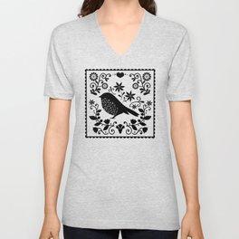 Woodland Folk Black And White Blue Bird Tile Unisex V-Neck
