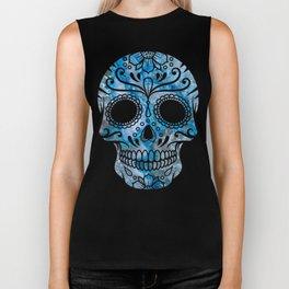 Blue Lace Sugar Skull Biker Tank