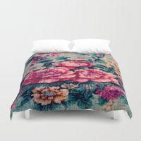 vintage floral Duvet Covers featuring Vintage Floral  by CLE.ArT.