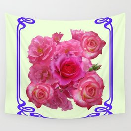 RED & PINK  ART NOUVEAU ROSES Wall Tapestry