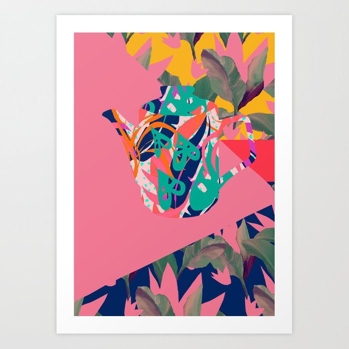 Jungle Pop! Color Block Retro Teapot Art Print