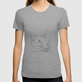 Wild Pig Head Continuous Line T-shirt