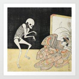 Skeleton Japanese Print, Katsukawa Shunsho, 1783 Art Print