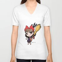 kiki V-neck T-shirts featuring Chibi Kiki by Warbunny