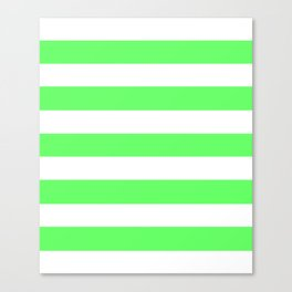 Screamin' Green - solid color - white stripes pattern Canvas Print