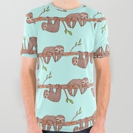 Lazy Baby Sloth Pattern All Over Graphic Tee